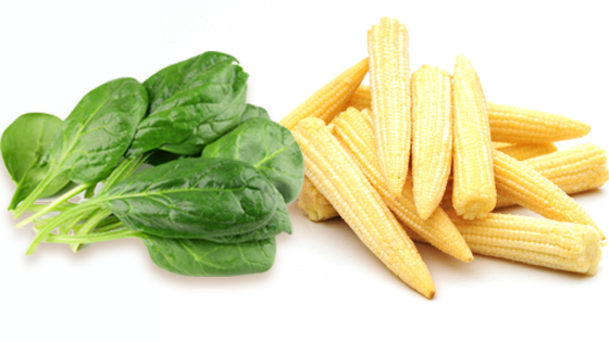 Healthy recipes – Spinach and baby corn